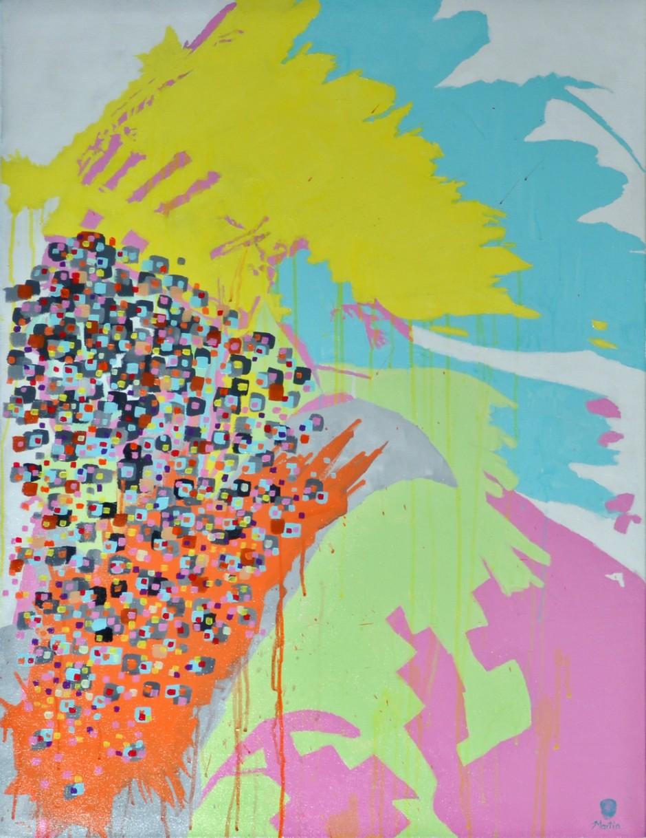 "Pow Wow Wow Wow #1 (2010) acrylic on canvas 30"" x 40"" - SOLD"