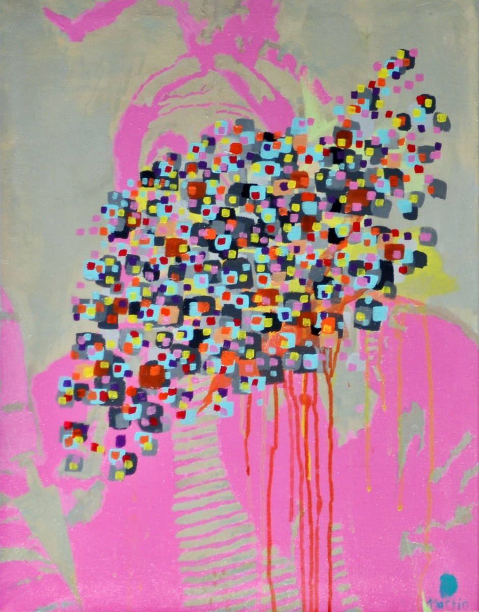 """Pink Indian #2 (2010) acrylic on canvas 20"""" x 30"""" $200"""