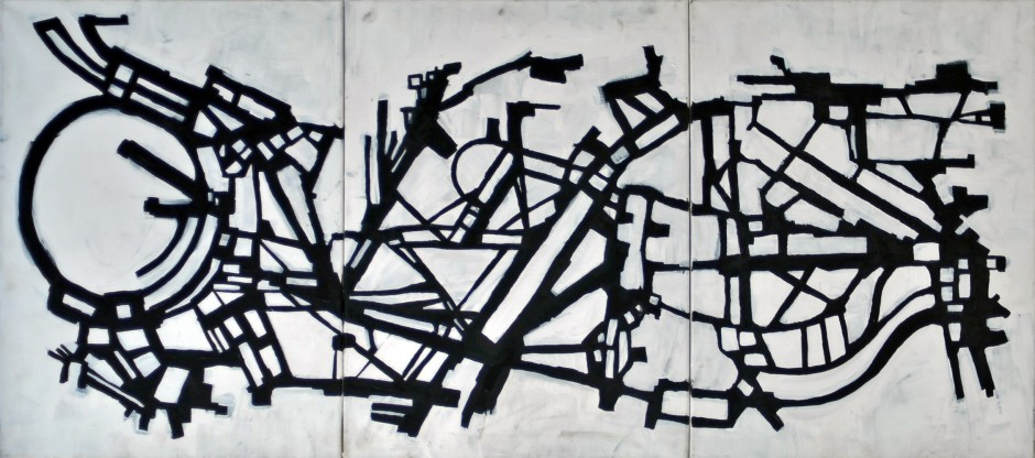 "Floating City (2011) acrylic on canvas 24"" x 60"""